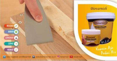 dempul kayu Biovarnish wood filler yang tidak ambles